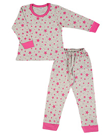 De-Nap Set Of Star Printed Cuffed Top & Bottom - Grey
