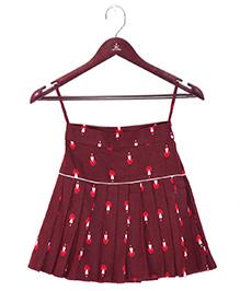 Kidofy Printed Low Rise Pleated Skirt - Maroon