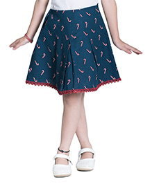 Kidofy Printed Overlapping Pleated Skirt - Blue