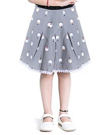 Kidofy Printed Overlapping Pleated Skirt - Grey