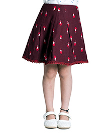 Kidofy Printed Overlapping Pleated Skirt - Maroon