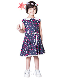 Kidofy Polka Printed Buttoned Dress - Navy Blue