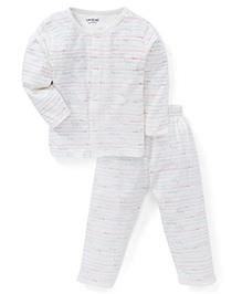 Doreme Full Sleeves Night Suit Printed - White