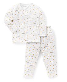 Doreme Full Sleeves Night Suit Multi Print - Cream