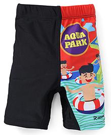 Rovars Swimming Trunks Run For Fun Print - Black Red