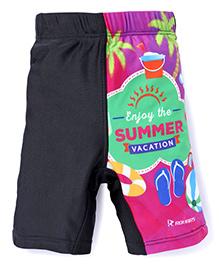 Rovars Swimming Trunks Summer Vacation Print - Black Purple