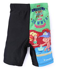 Rovars Swimming Trunks Summer Print - Black Green