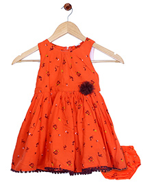 Bella Moda Nappy Cover Printed Flare Dress - Orange