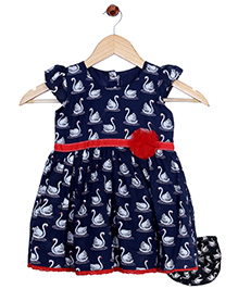 Bella Moda Swan Printed Dress With Nappy Cover - Blue