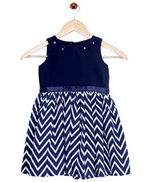 Bella Moda Zig Zag Printed Flare Dress - Blue