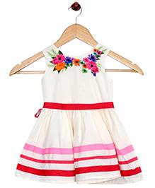 Bella Moda Floral Printed Dress - Cream