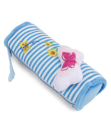 Striped Plush Pencil Pouch With Butterfly Motif - Blue