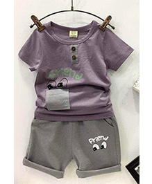 Aww Hunnie Set Of Friends Printed Capri & Tee - Purple