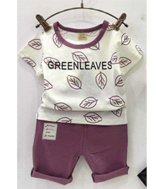 Aww Hunnie Set Of Leaves Print Tee & Bottom - Purple