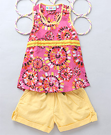 Popsicles Set Of A Line Tank Top & Shorts - Pink & Yellow