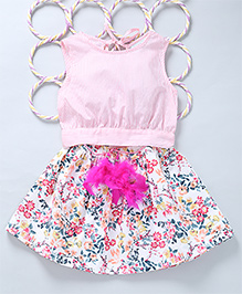 Popsicles Set Of Crop Top & Floral Printed Skirt - Pink & White
