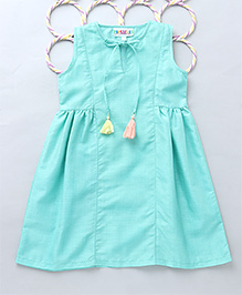 Popsicles Fit & Flare Gather Sheen Dress - Turquoise