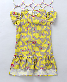 Popsicles Animal Printed Cold Shoulder Dress - Beige & Yellow