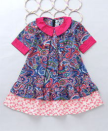 Popsicles Multi Paisley Printed Tier Dress - Pink & Blue