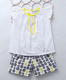 Popsicles Set Of Pineapple Printed Night Shorts & Top - White & Purple