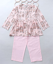 Popsicles Animal Printed Fit & Flare Top With Pyjama - Pink