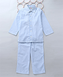 Popsicles Set Of Verticle Striped Kurta & Pyjama - Blue & White