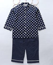 Popsicels Set Of Cat Printed Kurta & Pyjama - Navy Blue
