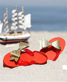 D'chica Blingy Bow Applique Flip Flops - Red