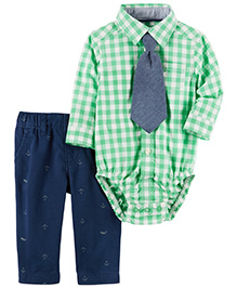 Carter's 3-Piece Button-Front Bodysuit & Twill Pant Set - Green Blue