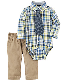 Carter's 3-Piece Button-Front Bodysuit & Twill Pant Set  - White Blue Khaki