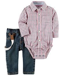 Carter's 3-Piece Button-Front Bodysuit & Denim Pant Set - Pink Dark Green