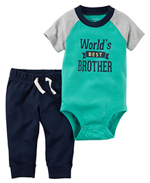 Carter's 2-Piece Bodysuit & Pant Set - Green Navy Blue