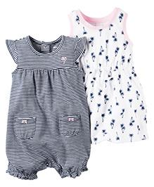 Carter's 2 Pack Dress & Romper Set - Navy Blue White