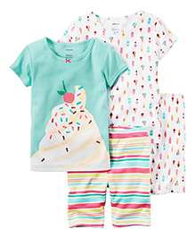 Carter's 4-Piece Snug Fit Cotton PJs - Sea Green White