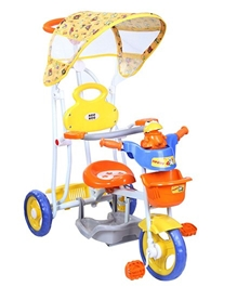 Mee Mee Tricycle with Canopy and Parents Steering Handle - Frog Design Orange