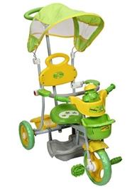 Mee Mee Tricycle with Canopy and Parents Steering Handle - Frog Design Green