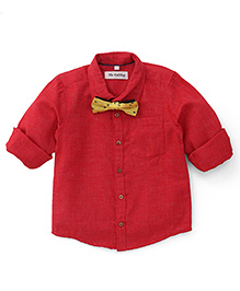 The KidShop Solid Shirt With A Classy Bow - Red