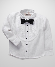 The KidShop Tuxedo Shirt With A Classy Bow - White
