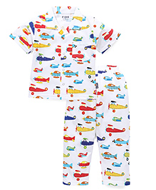 Fido Half Sleeves Night Suit Planes Print - Multi Color