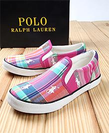 Polo Ralph Lauren Bal Harbour Repeat Checks Canvas Shoes - Pink