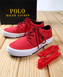 Polo Ralph Lauren Faxon II Canvas Shoes - Red Navy