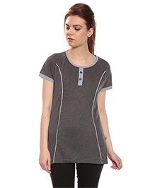 Goldstroms Long Maternity Top With Vertical Zipper - Grey