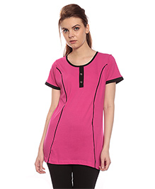Goldstroms Long Maternity Top With Vertical Zipper - Pink