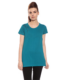 Goldstroms Short Sleeves Long Maternity Top With Horizontal Zipper - Green