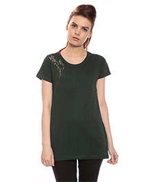 Goldstroms Short Sleeves Long Maternity Top With Horizontal Zipper - Bottle Green