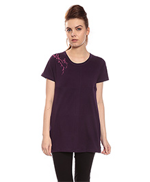 Goldstroms Long Maternity Top With Horizontal Zipper - Purple