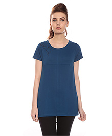 Goldstroms Long Maternity Top With Horizontal Zipper - Blue