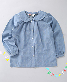 Holy Brats Gather Collared Top - Light Blue