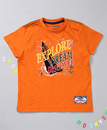 Holy Brats Explore Design Printed Tee - Orange