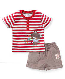 ToffyHouse Half Sleeves Stripes T-Shirt And Shorts - Red White Beige